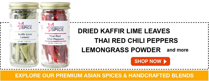 buy dried kaffir lime leaves and thai red chili peppers available at season with spice shop