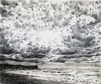 Katherine Kean, Gathering Point, drawing, Hawaii, clouds, ocean, storm clouds