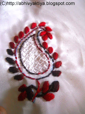 hand embroidery design using satin stitch and back stitch