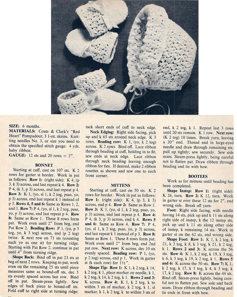 Vintage Knit Crochet Shop Talk: Knitted Baby Bonnet, Mittens ...