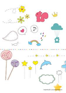 corazones, flores, arco iris Dibujitos infantiles para imprimir