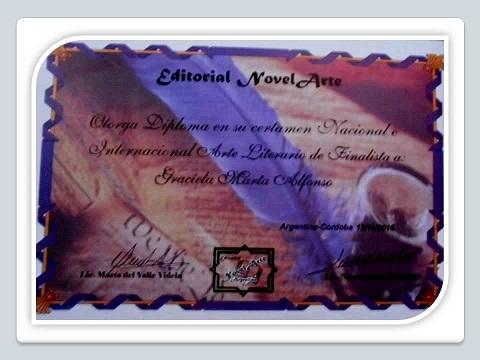 """Diploma Finalista Concurso Internacional """"Arte Literario"""""""