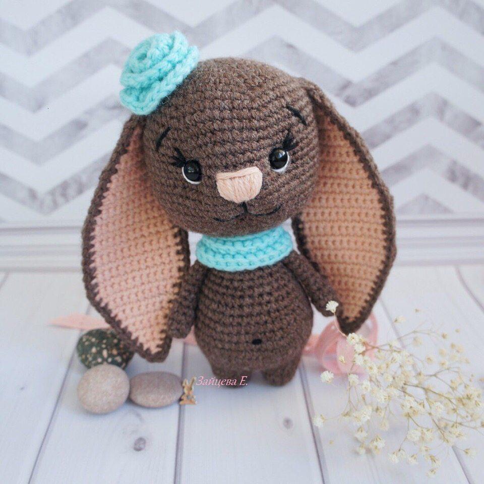 Bunny amigurumi knitted toy