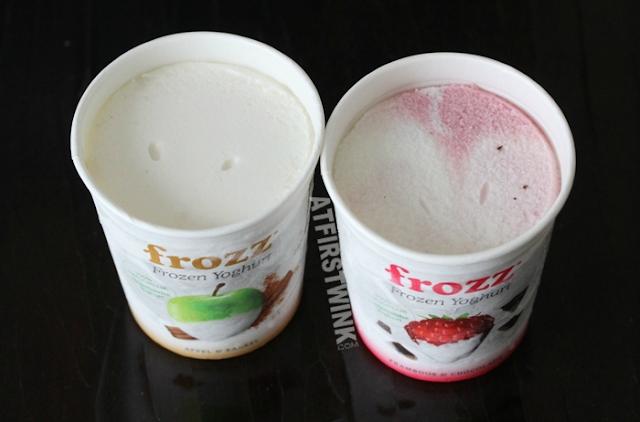 Frozz Frozen Yoghurt (apple cinnamon) appel & kaneel (raspberry chocolate) framboos & chocolade