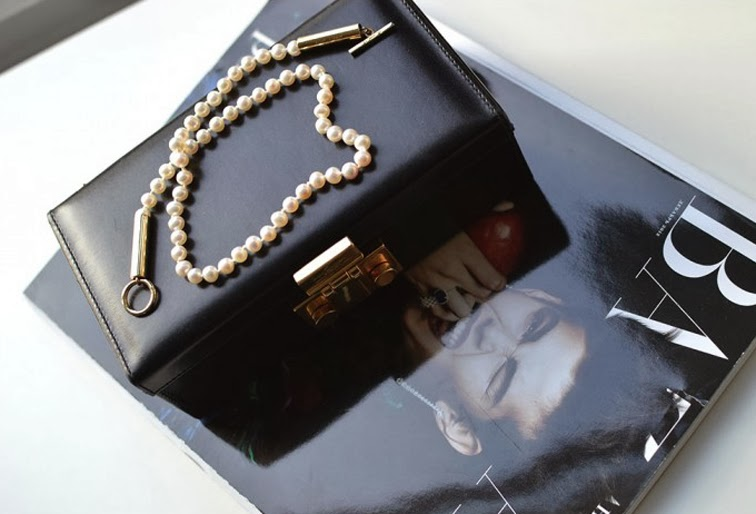 Saint Laurent box clutch pearl necklace