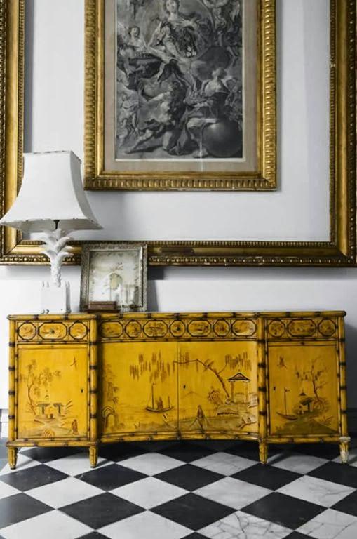 Recibidor estilo asiatico vintage marco dorado cuadro