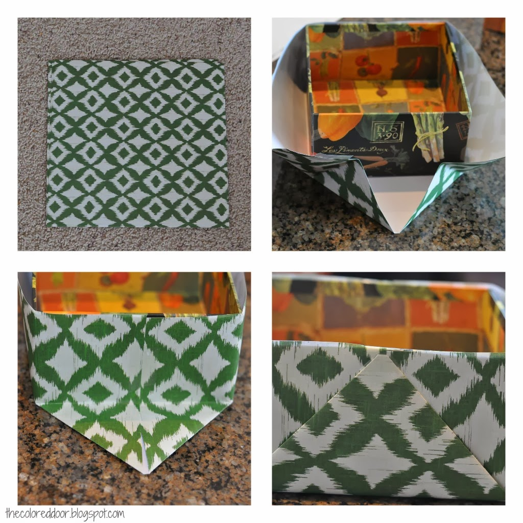 Ikat paper covered boxes - the colored door
