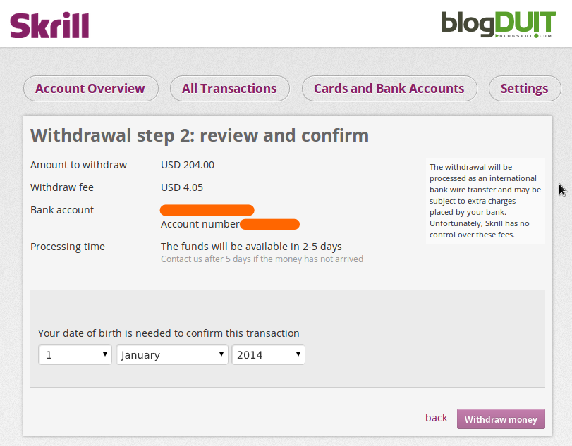 Biaya withdraw