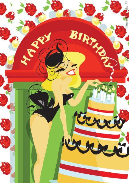 Nina Mierowska ilustrações pin-ups garotas caricatas sensuais mulheres Acendendo as velas do bolo de aniversário