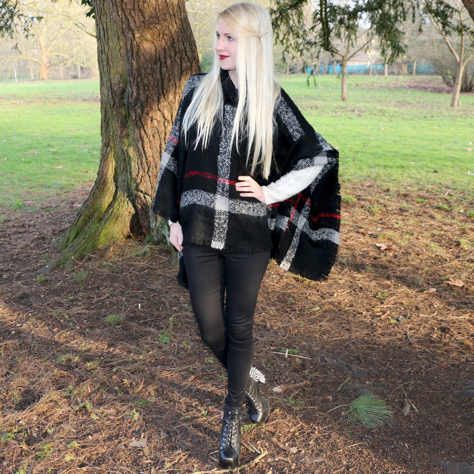 OOTD: Checked Poncho, Black Joni Jeans & Jeffrey Campbell Lita Spike Boots