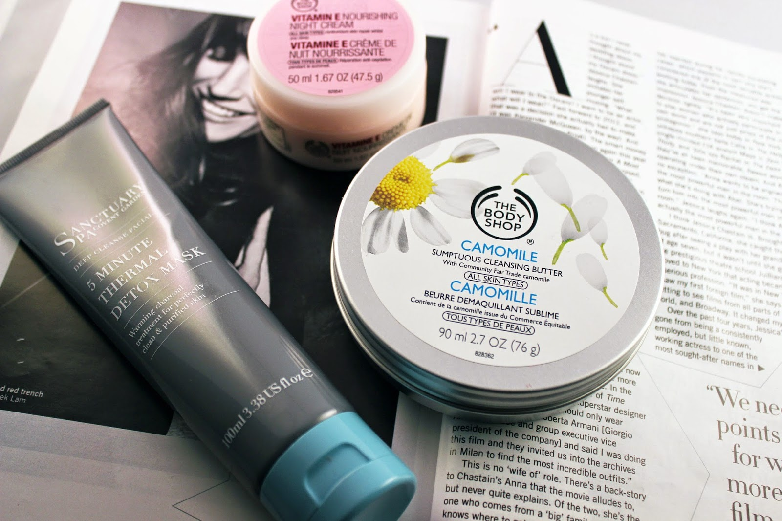 Sanctuary Spa 5 Minute Thermal Cleansing Mask, The Body Shop Camomile Cleansing Butter, the Bosy Shop Vitamin E Night Cream