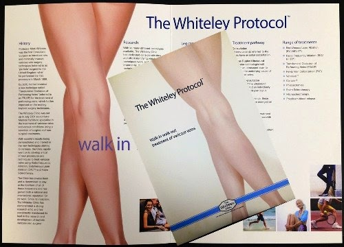 The Whiteley Protocol (TM) Leaflet for treating varicose veins, thread veins and leg ulcers - now available from The Whiteley Clinic