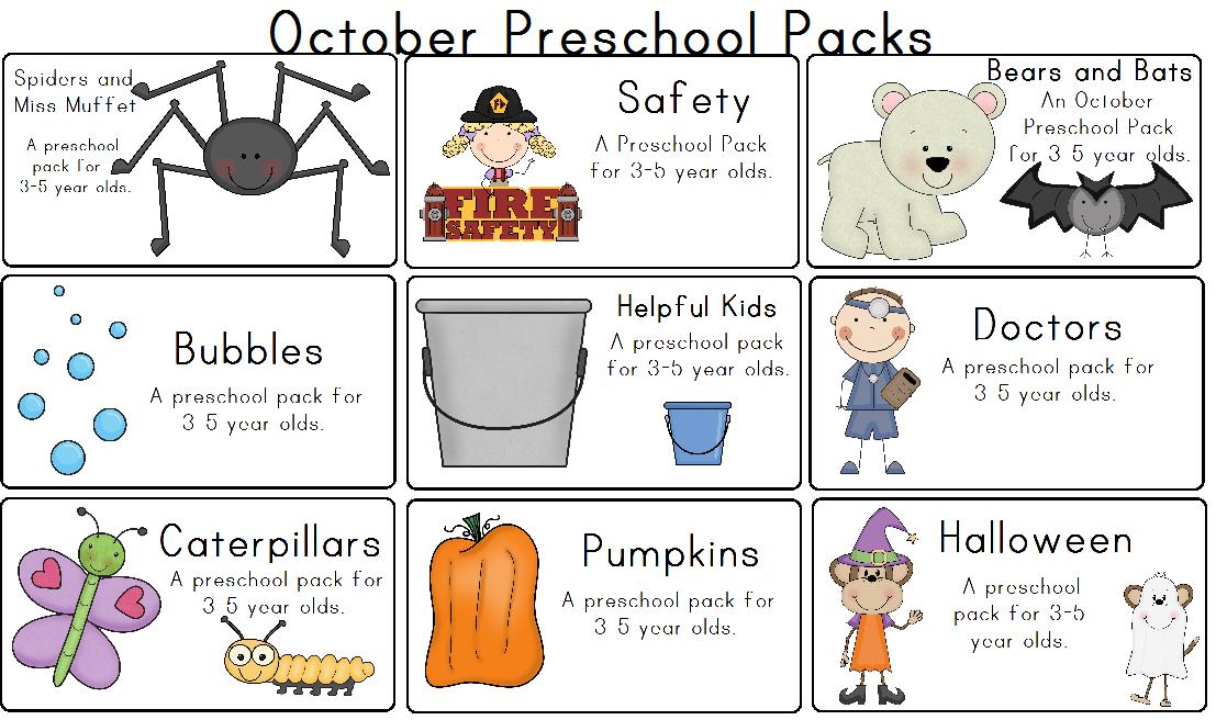 Kindergarten October Calendar : October preschool packs