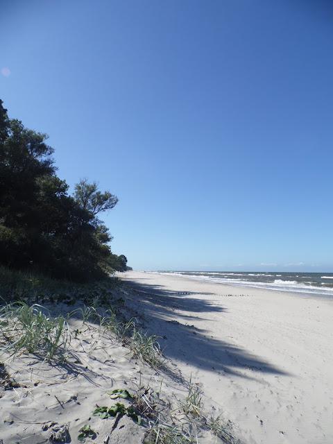 Plaża (praktycznie pusta) nad Bałtykiem pomiędzy Sarbinowem Morskim a Gąskami w Gminie Mielno
