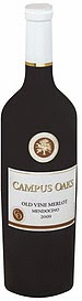 bottle of Campus Oaks Old Vine Merlot 2009
