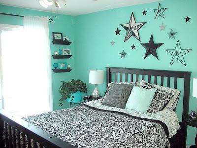 dormitorio en turquesa y negro