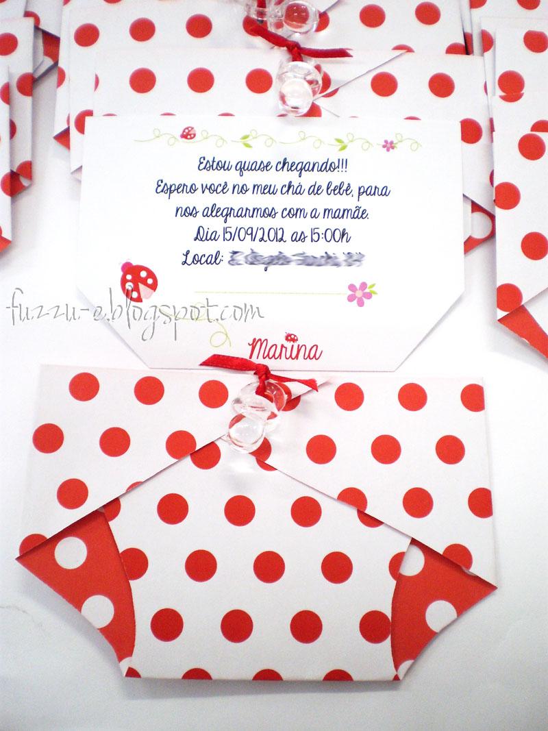 Fuzzu ê Convite Fralda Poá Vermelho
