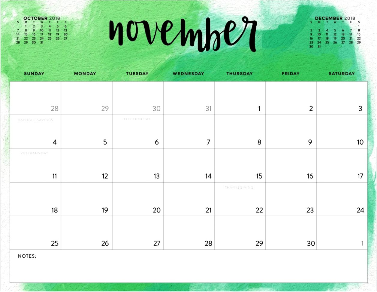 picture relating to Printable Calendar November named Purchase Printable Calendar : November 2018 Printable Calendar