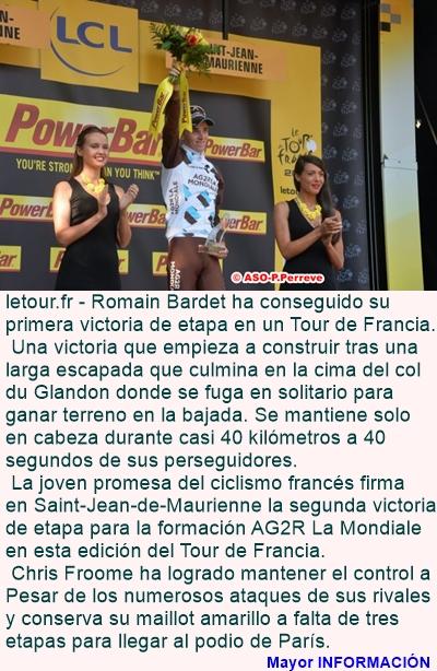 DEPORTES: Tour 2015 - Etapa 18: Romain Bardet alza el vuelo
