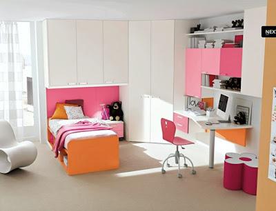 dormitorio niña naranja y rosa