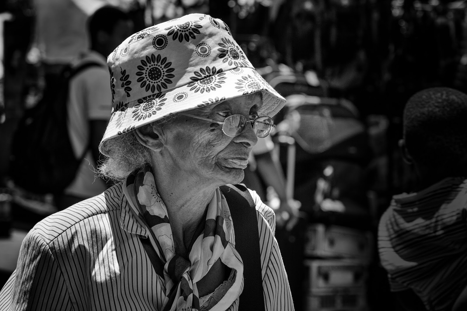 A woman in a sun hat