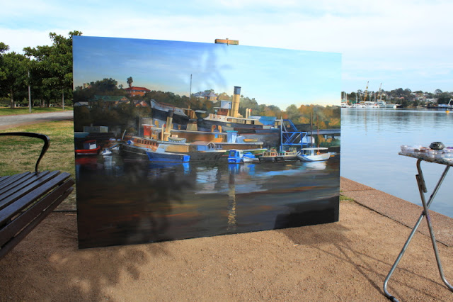 oil painting of 'The Sydney Heritage Fleet from Blackwattle Bay' by artist Jane Bennett