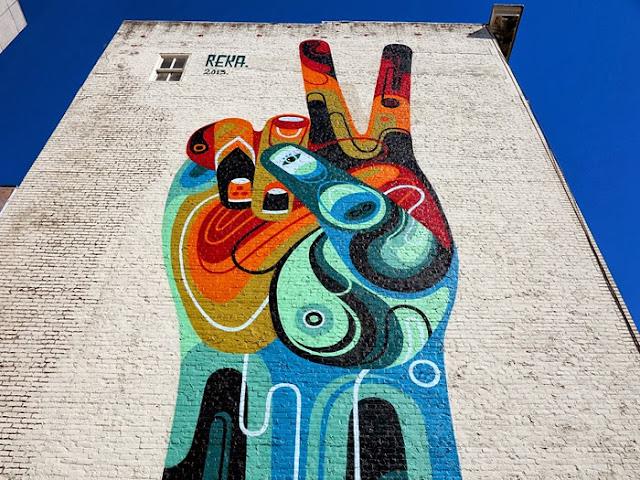 """Peace, Man"" New Street Art Mural By Australian Artist REKA in San Francisco, USA 3"