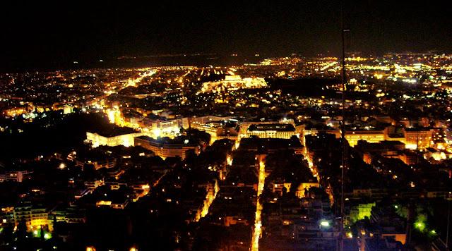Monte Lycabettus en Atenas: vistas nocturnas