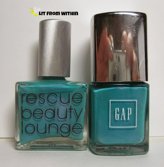 Bottle shot:  Rescue Beauty Lounge Aqua Lily and Gap Bright Pool.