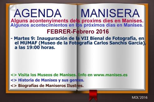 AGENDA MANISERA, SEMANA 06 DE 2016
