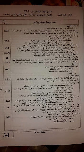 تصحيح موضوع اللغة العربية بكالوريا 2015 الشعب العلمية
