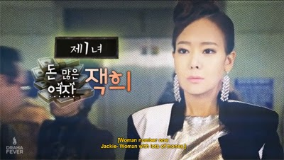 So Yoon Jin as Jaek Hee, the woman with lots of money.
