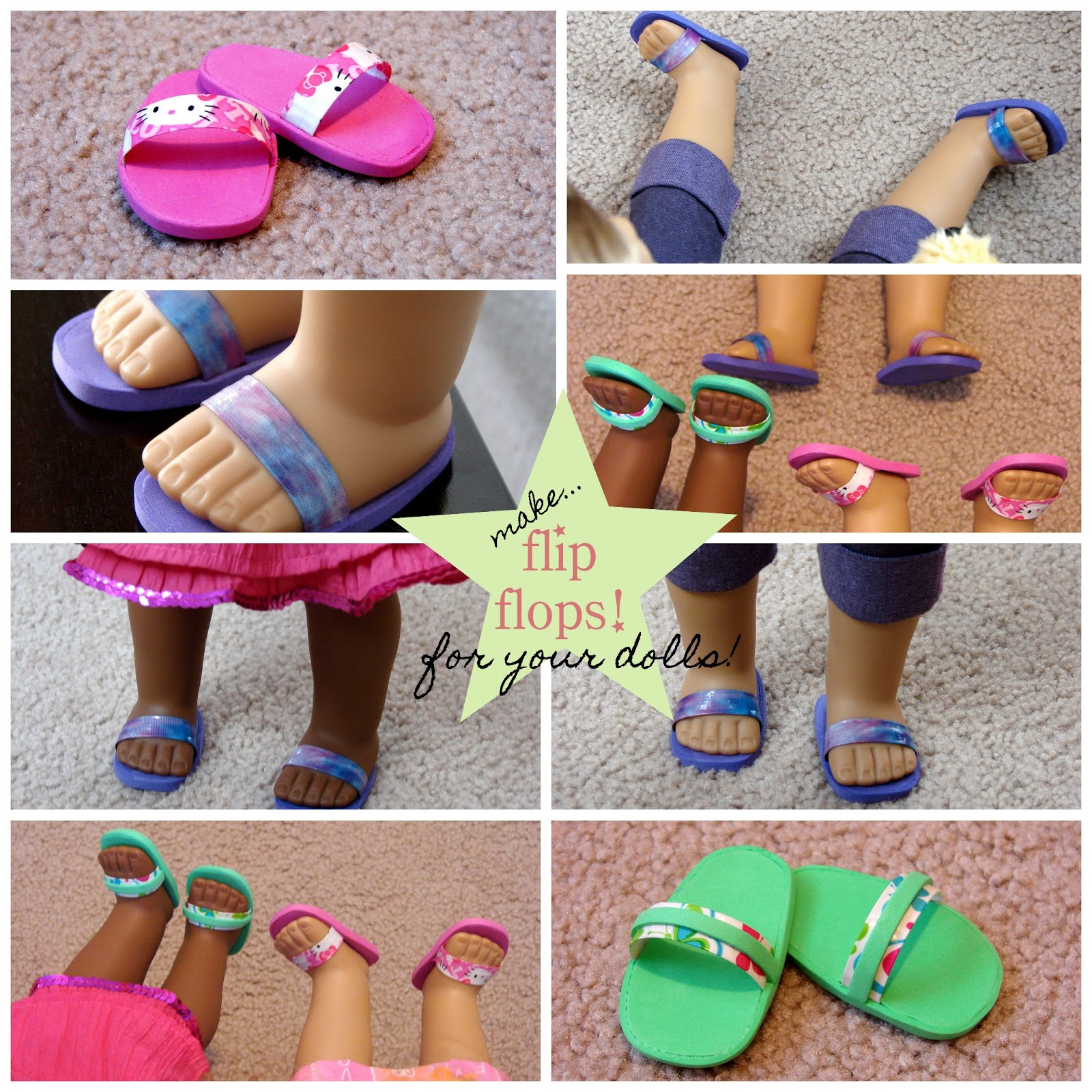 American girl doll play doll craft make your doll flip for Flip flops for crafts