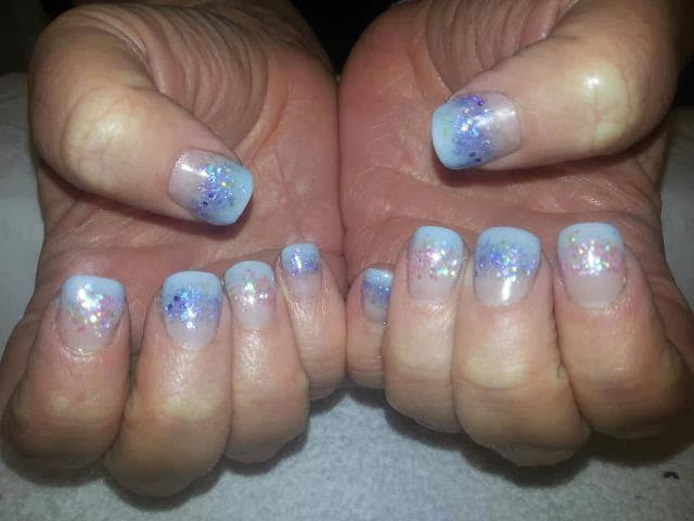 aqua acrylics with multi mix glitz haze nails art design