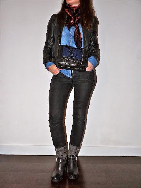 Blog Mode Fashion Fashionblog Blogmode Jean H&M - Chemise Stradivarius - Veste cuir H&M -  Boots Méliné - Sac cuir H&M - foulard Monoprix