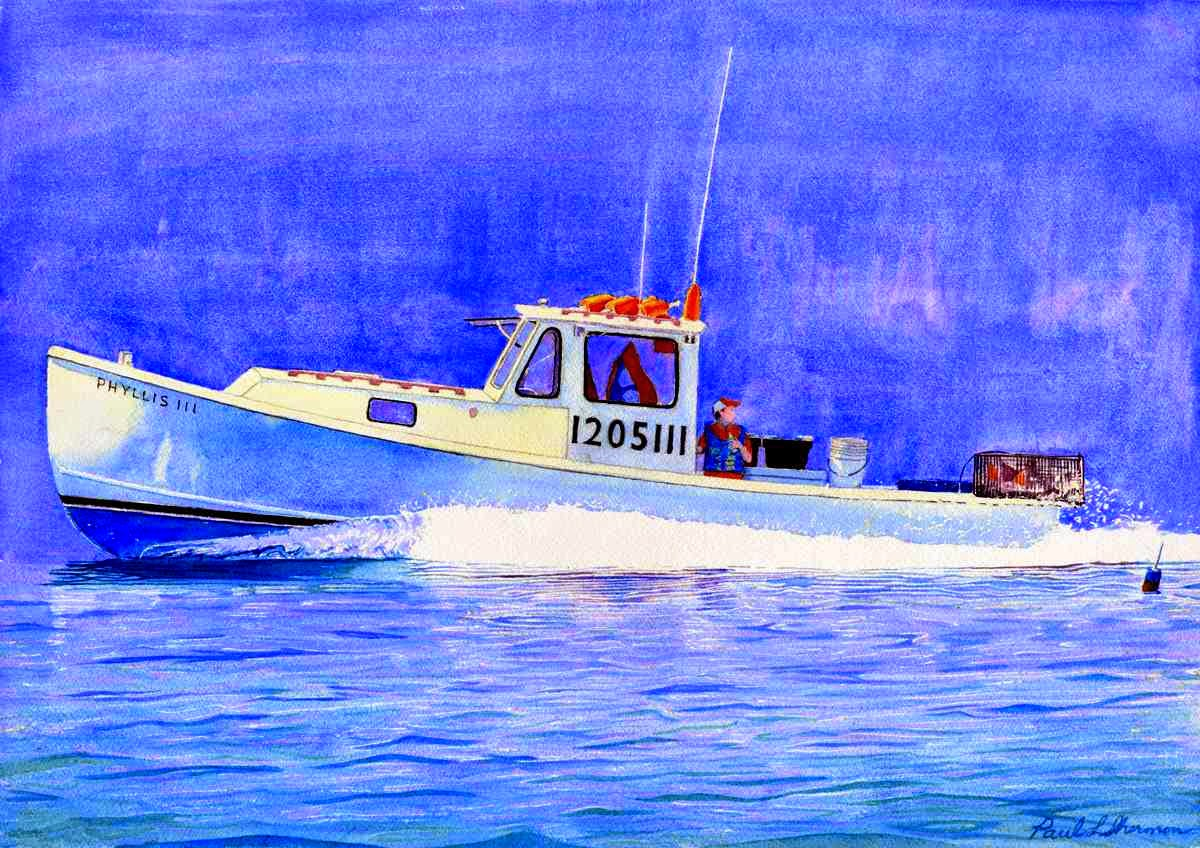 "Phyllis III Lobster Boat - Watercolor 14"" x 20"""
