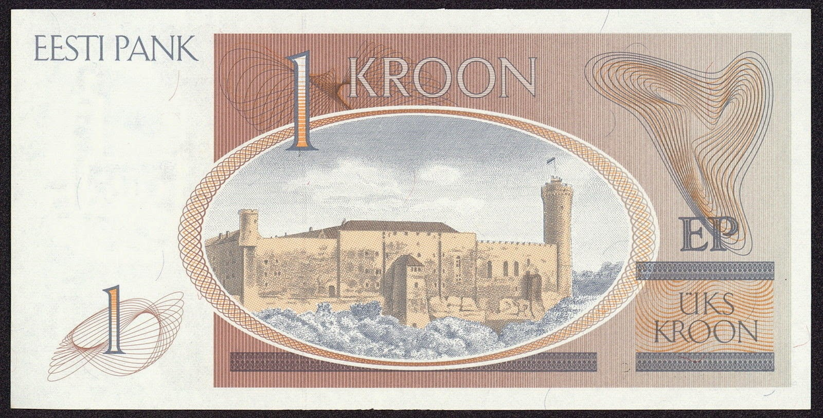 Estonia banknotes 1 kroon note, Toompea Castle and the Tall Hermann Tower