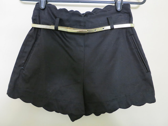 black high waisted shorts scallop hem, fashion haul