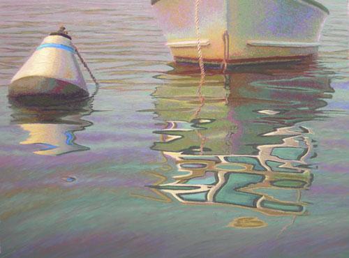 Dry Fog Painting : Pastel painting morning fog lifting boat reflection