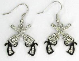 Rhinestone Gun earrings