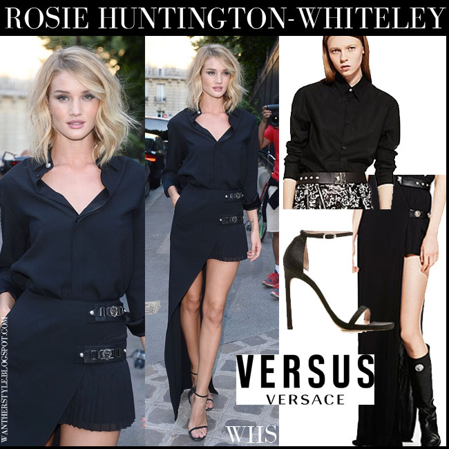 Rosie Huntington-Whiteley in black Versus shirt, black asymmetric Versus mini skirt and black sandals stuart weitzman nudist what she wore july 6