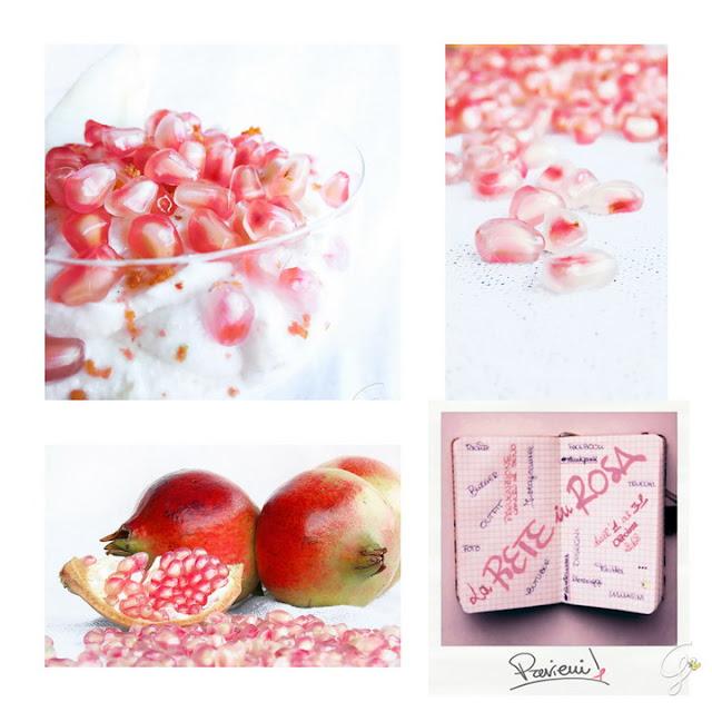 Crema di ricotta  profumata al pompelmo rosa  con melagrane e pere