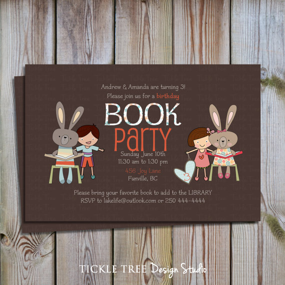 Creating a Library of Good Childrens Books 3 Host a Book – Book Party Invitation