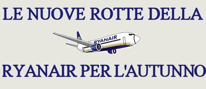 nuove rotte Ryanair autunno