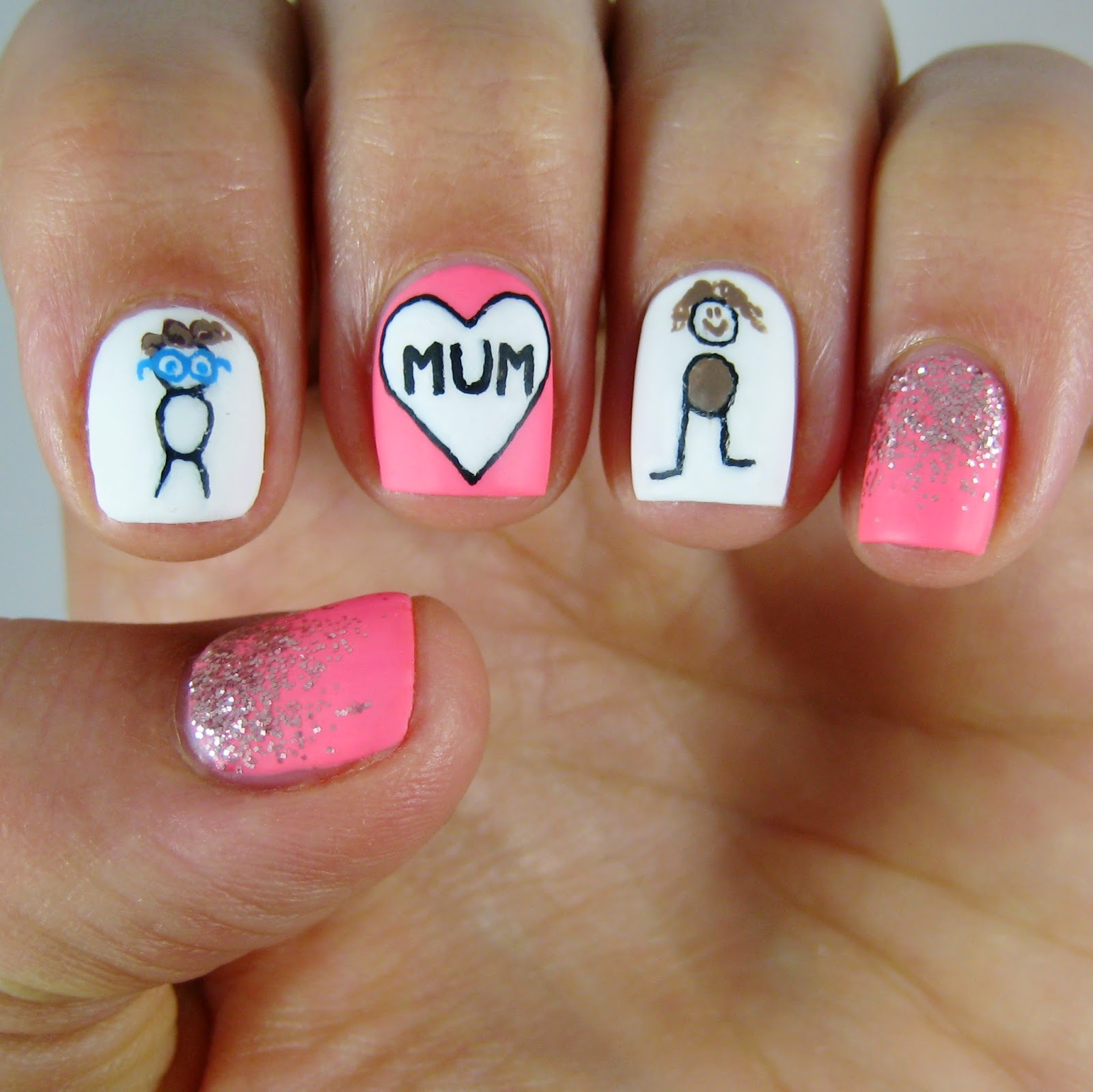 Cute Mom Fingernails | Mother's Day Nail Art | Nail Designs | mothers day nail art