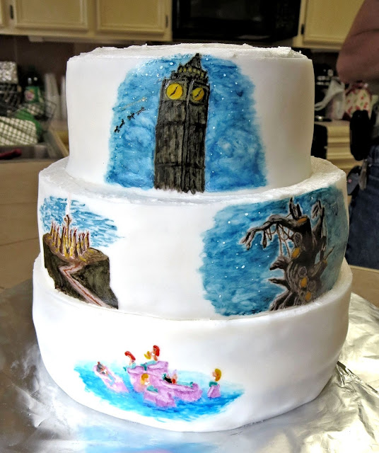 Hand Painted Peter Pan Scenes Cake 3