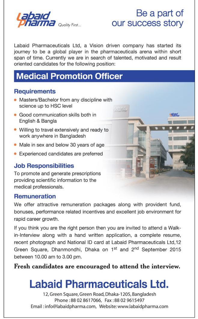 Post: Medical Promotion Officer | Organization: Labaid Pharmaceuticals Ltd