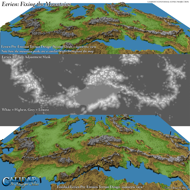 Eerien height maps and 3D views, Calidar, Lambert Conformal Conic Projections
