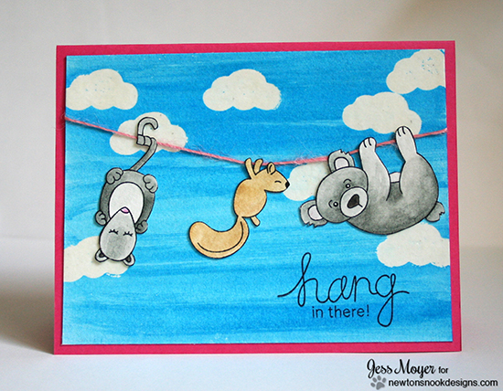 Hanging animals card by Jess Moyer for Newton's Nook Designs | Hanging Around Stamp Set