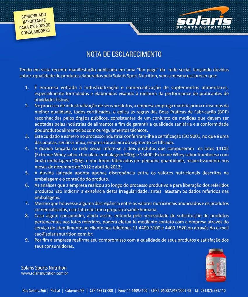Nota de esclarecimento da Solaris Sports Nutrition sobre dois lotes do Extreme Whey Protein. Foto: Reprodução